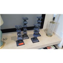 4 Blue Glass Pillar Candle Holders