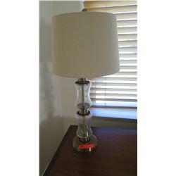 "Pair: Glass & Brass Pillar Table Lamps, Approx. 30.5"" H"