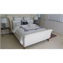 Queen White Upholstered Sleigh Bed (sheets, coverlet, pillows not included)