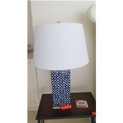"Pair: Blue & White Ceramic Column Table Lamps, 29"" H"