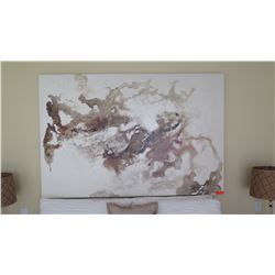 """Very Large Abstract Glazed """"Marble"""" Painting on Canvas, 72"""" X 48"""""""