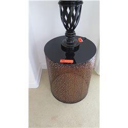 Metal Filigree Cylinder Side Table