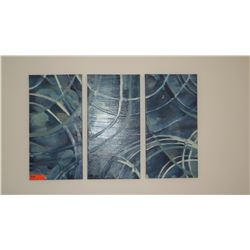 3 Abstract Glazed Painted Blue Canvas Triptych (3 pcs, each 12X24)