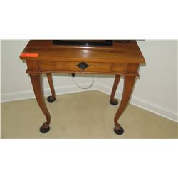 Hardwood Side Table w/Cabriolet Legs, Single Drawer