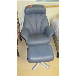 "Contemporary Blue Leather Chair w/ Ottoman (shows some wear/age), Back Approx. 39.5"" H"