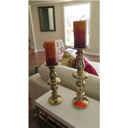 "2 Brass Pillar Candle Holders, 12"" Tall & 16"" Tall"