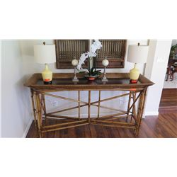 Long Console Table w/ Woven Rattan Border, Bamboo Framework, Coconut Shell Inlay, 74X24X38.5