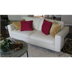 "White Natuzzi Modern Leather Sofa, Approx. 80"" L, 35"" W"