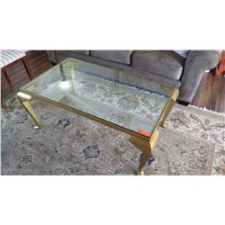 "Glass Coffee Table with Gilt Base, Cabriolet Legs 45"" X 27"" X 19""H"