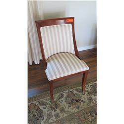 "Striped Upholstered Wooden Chair, 20.5"" Across, 35"" H"