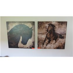 "2 Framed Glazed Canvas Artwork - Horses, 35"" X 35"""