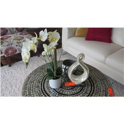 """3 Decorative Accent Pieces: White Sculptural Ceramic, Mirorred Bowl, Orchid Plant (19.5""""H)"""