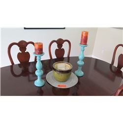 "2 Blue Pillar Candle Holders (16"" H & 14"" H) & Ceramic Bowl"