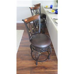 3 Metal Bar Chairs w/ Rounded Seats, Counter-Height