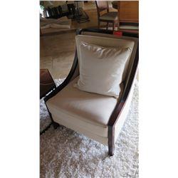 Modern Upholstered Chair, Cream, Dark Wood Frame