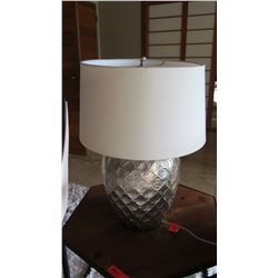 """Silver Urn Table Lamp with Damask-Like Relief Design, Approx. 25"""" H"""
