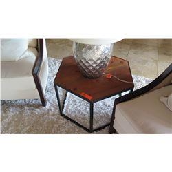Hexagonal Wood Side Table w/Metal Frame