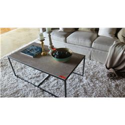 Rectangular Natural Stone Coffee Table w/Black Metal Frame