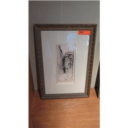 Framed Block Print, Ltd. Ed., Alleyway, Original Signature