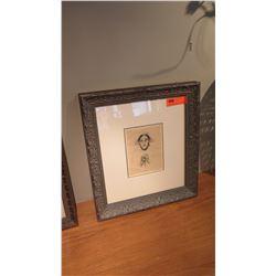 Framed Block Print, Ltd. Ed., Sketch of Old Woman in Bonnet, Signed