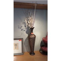 """Tall Bronze-Colored Filigree Metal Urn, Approx. 23"""" H (does not include faux plants/branches)"""