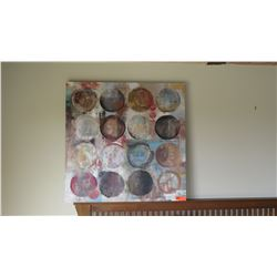 Abstract Painting on Stretched Canvas (Circles), Approx. 39.5X39.5