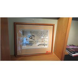 Framed Watercolor Print, Japanese Winter Scene