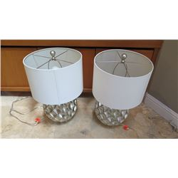 """Pair: Silver Tone Geometric Table Lamps, Approx. 22"""" H"""
