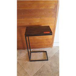 Minimilist Side Table w/ Dark Wood Top, Black Metal Base