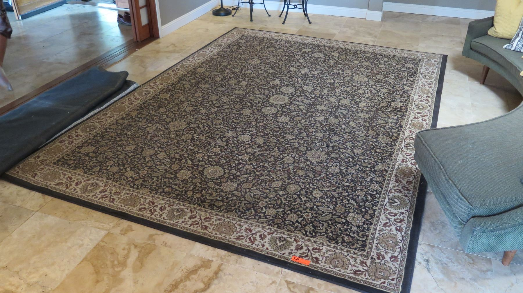 Large Area Rug Black Beige Brown Blue Border 8 X 11