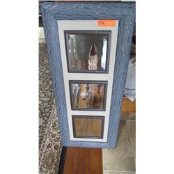 Decorative 3-Frame Mirror w/Blue Geometric Design Outer Frame