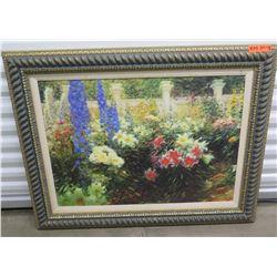 "Framed Impressionist Painting - Flower Garden, 32"" X 42"""