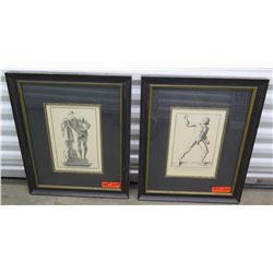 "Qty 2 Framed Italian-Themed Prints (each 19"" X 23"")"