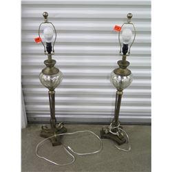 "Pair of Buffet Lamps, Metal w/Mercury Glass Globe (no lamp shades), Approx. 38"" H"