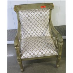 """Gilded Upholstered Chair w/Carved Scroll Details, 37"""" H, 27"""" W"""