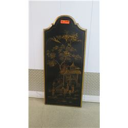 """Black Painted Lacquered Panel, Asian Motif, Wall-Mount 40"""" X 18"""""""