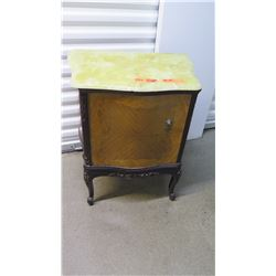 """Pair: Onyx-Topped Marquetry Side Tables 23"""" X 16"""" X 28""""H"""
