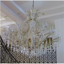 """Large Grand Crystal & Brass Chandelier w/Teardrop Pendants, Approx. 56"""" H, 56"""" Dia."""