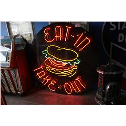 APPROX. 5' NEON EAT-IN TAKE-OUT RESTAURANT SIGN