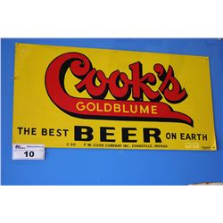 1930S DOUBLE SIDED COOK'S GOLDBLUME THE BEST BEER ON EARTH SIGN