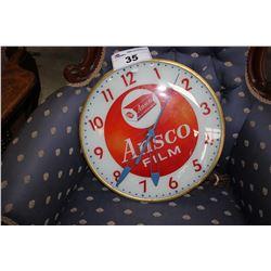 VINTAGE ADVERTISING CLOCK, ANSCO FILM
