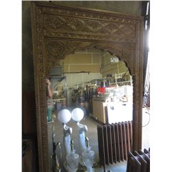 "LARGE DECORATED FRAMED MIRROR 50X82""/SERPENT LAMP/VINTAGE RADIATOR/DECORATIVE METAL FLY WHEEL"