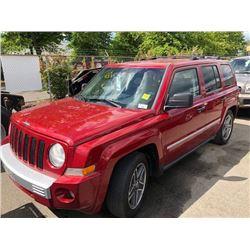 2008 JEEP PATRIOT LIMITED, 4DR SUV, RED, VIN # 1J8FF48W28D795025