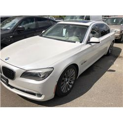 2010 BMW 750LI, WHITE, 4 DOOR SEDAN, GAS, AUTOMATIC, VIN#WBAKC8C57AC430742, 114,808KMS,