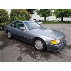1991 MERCEDES 500SL, GREY, 2DR CONVERTIBLE, GAS, AUTOMATIC, VIN#WDBFA66E6MF033289, 87,539KMS,