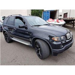 2006 BMW X5, 4DRSW, BLACK, GAS, AUTOMATIC, VIN#5UXFA93576LE84423, 131,591KMS **REBUILT**,