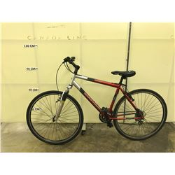 RED AND GREY GARY FISHER 21 SPEED FRONT SUSPENSION HYBRID BIKE