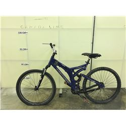 BLUE NORCO VPS TEAM-NS FULL SUSPENSION MOUNTAIN BIKE, MISSING REAR DERAILER, NO DISC BRAKES AND
