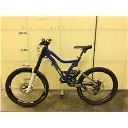 BLUE NORCO FULL SUSPENSION 27 SPEED DOWNHILL MOUNTAIN BIKE WITH FRONT AND REAR DISC BRAKES, MISSING