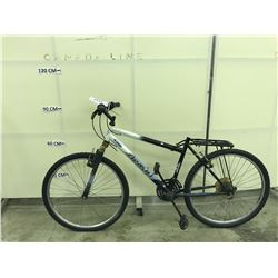 WHITE AND BLACK ARASHI 18 SPEED FRONT SUSPENSION MOUNTAIN BIKE, MISSING SEAT